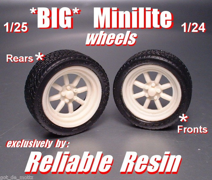 """BIG"" Minilite Wheels Rears & Fronts 1/25 & 1/24"